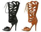 Cut Out Gladiator High Heels Pumps PU-Leather Mid Calf Sandals Shoes Womens