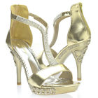 Gold Rhinestone T Strap Prom Wedding Party Open Toe Stiletto High Heel Sandal US