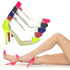 Pointy Toe Cap Clear Transparent Party Stiletto High Heel Pump Shoe Sandal 5-11