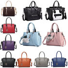 Women's Designer Leather Style Celebrity Tote Smile Stud Skull Shoulder Handbag