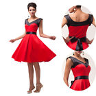 40s 50s 60s Vintage Rockabilly Party Dress Prom Cocktail Retro BLACK&RED Splice