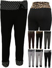 Womens New Plus Size 3/4 Leggings Animal Spot Stripe Ladies Pants Trousers 12-26
