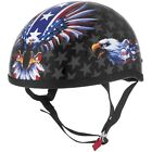 SKID LID HALF OPEN FACE MOTORCYCLE STREET HELMET USA FLAME EAGLE DOT NEW