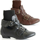 WOMENS LADIES ANKLE FLAT LOW HEEL VINTAGE RETRO WINTER LACE UP BOOTS SIZE