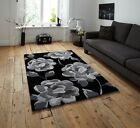 Acrylic Rugs Cheap Soft Grey Black Hand Tufted Stain Resistant Floral Print New