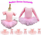 Girl Pink Ballet Dress skirt , Gymnastics Dance Dancewear Shoes 2 3 4 5 6 7 Year