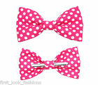 Pink With White Dots Clip On Bow Tie Men / Boys