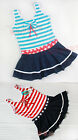 Navy Stripe Bow Child Kids Baby Girl's Swimsuit Swimwear Bikini One Piece 2-6Y