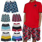 Boys Cargo Bay Swim Shorts Kids Tropical Stripe Beach Sun Shorts 3/4 Pants New