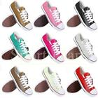 Womens Ladies PU Leather Flat Pumps Low Trainers Pumps Lace Shoes Size