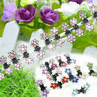 1 Set of 12pcs Crystal Rhinestone Flower Mini Hair Claws Clips Clamps Grips