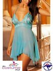 NEW Sexy Sheer Turquoise Top Lingerie Babydoll Nighty Size 8 - 14 AU