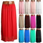 Womens Ladies TAN BROWN BELT CHIFFON LONG MAXI SKIRT Belted Underskirt Lining