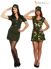 Size 10-14 Ladies Sexy Army Girl Fancy Dress Costume Soldier Camo Womens WW2