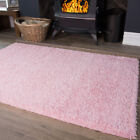 Soft Touch Easy Clean Baby Pink Shaggy Rugs Durable Large Shag Pile Lounge Mats