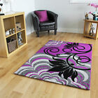 Quality Affordable Purple Black Flower Design Mats Luxury Colourfast Floral Rug