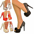 NEW Womens Ladies Rose Diamante Crystal Pumps Satin Peep Toe High Heel Shoe Size