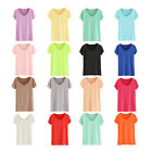 stone Womens Modal Short Sleeved Cotton Candy Color Basic Tee T-shirt V Neck