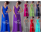 New Formal  V Nickline Long Evening Ball Gown Party Prom Bridesmaid Dress