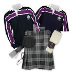SPORTS KIT PREMIUM KILT OUTFIT - PURPLE STRIPE RUGBY TOP - GRANITE GREY