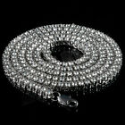 14k White Gold CLEAR CZ Iced Out 1 Row SILVER Chain Men's HipHop Tennis Necklace