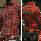 Formal Mens Red Plaid Checked Button Down Dress Shirt Casual Stylish Basic Tops
