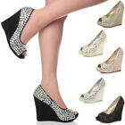 WOMENS LADIES PLATFORM HIGH HEEL WEDGE WEDDING PROM BRIDAL PARTY GEM SHOES SIZE