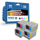 20 COMPATIBLE BROTHER LC1000 PRINTER INK CARTRIDGES  4 FULL SETS + 4 EXTRA BLACK