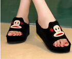 Womens Cartoon Faux Suede Open Toe Wedge Platform Slippers Mules Slides Shoes