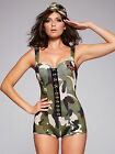 Ann Summers Womens Army Green Fancy Dress Camouflage Adult Halloween Costume