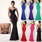 2014 Sexy Beading Straps Lady Evening gown Pageant Prom Dresses Awesome Long NEW