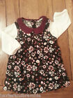 Baby Girls' Corduroy Floral Print Dress. Long Sleeves. Size Choice. Free P&P