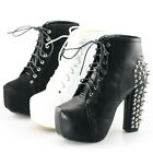 Womens ladies spikes lace up platform pumps block high heels ankle boots shoes