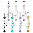 CZ Vine Belly Button Bar Ring Navel Dangle Barbell Body Piercing Jewellery