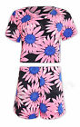 Womens Ladies Floral Crop Top Shorts Matching Set NEON Tropical Summer Cap Size