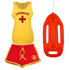 Womens Lifeguard + Costume Fancy Dress Set: Ladies Cool Vest, Shorts + Options