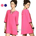 Elegant Womens OL Ladies Celebrity Round Neck 3/4 Sleeve Formal Party Mini Dress