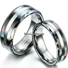 Tungsten Carbide Ring w Double Abalone Shell Couples Engagement Wedding Band image