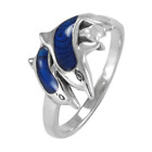 Sterling Silver Dolphin Ring with Lustrous Ocean Blue Enamel Jewelry sz 4-15