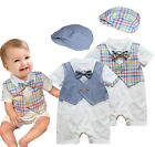 Summer Baby Boy White NEW Set (Striped, Checked Pattern) + Infant Hat 3 6 12 18M