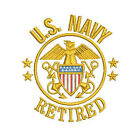 US NAVY RETIRED Army Patriotic Veteran Military Embroidered Polo Shirt