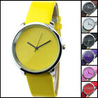 Simple Dial Cool Leather Band Analog Mens Women Quartz Wrist Watch Clock Gift UK