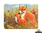 Tuftop Glass Chopping Board Fox Trio Family Wildlife Kitchen Worktop Saver Gift