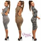 Animal Print Stretch Bodycon Turtleneck Jersey Dress Open Exposed Back 10-14 211