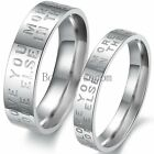 Silver Stainless Steel Love Note Promise Engagement Ring Couples Wedding Band