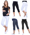 Maternity Cropped Trousers Jeans Shorts Denim Over Bump ADJUSTABALE Capri