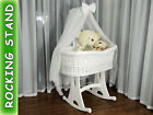 WICKER BABIES CRIB COT CRADLE MOSES BASKET With Drape ROCKING STAND mattress