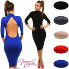 3/4 Sleeve Polo Turtleneck Stretch Bodycon Jersey Dress Exposed Back 10-14 206