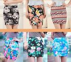 High Waist Chinese Peony Print Short Mini Dress Pencil Skirt Elastic Bodycon Fit