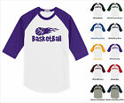 Basketball Flying Flame Hot On Fire Sports Funny Raglan Baseball Jersey T-shirt